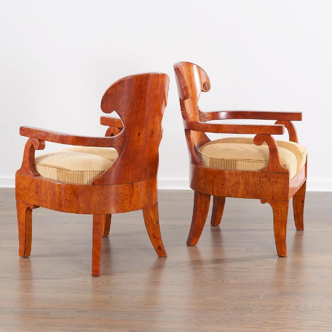 Pair Biedermeier burlwood armchairs - 3