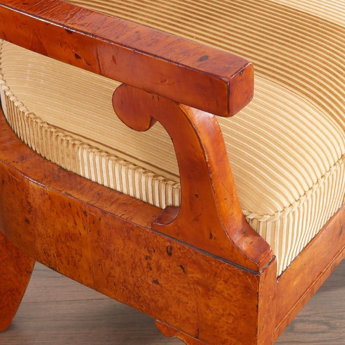 Pair Biedermeier burlwood armchairs - 4