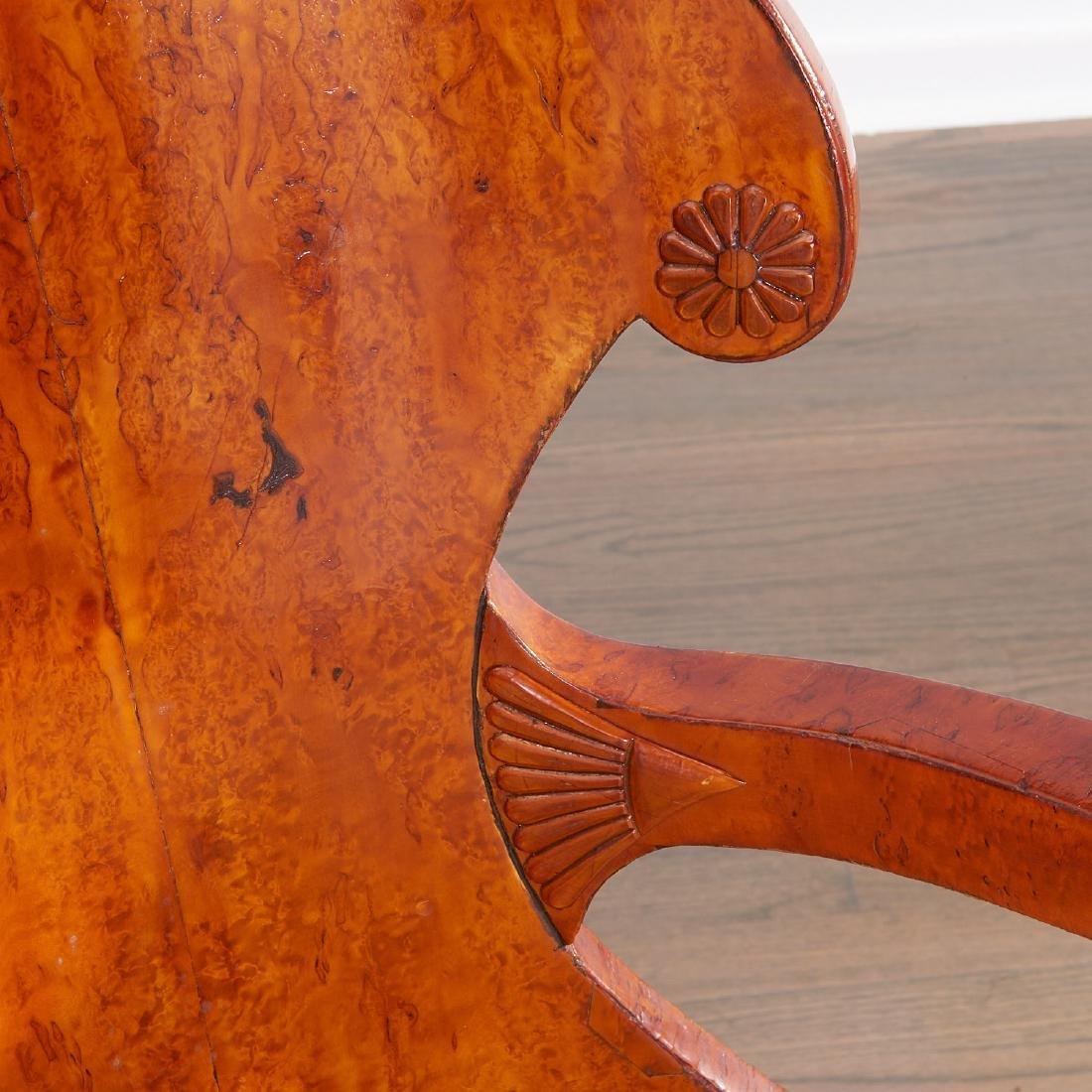 Pair Biedermeier burlwood armchairs - 5