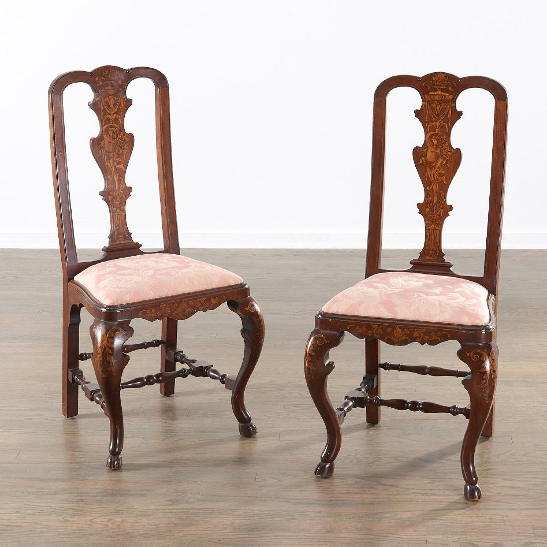 pair dutch marquetry inlaid queen anne chairs