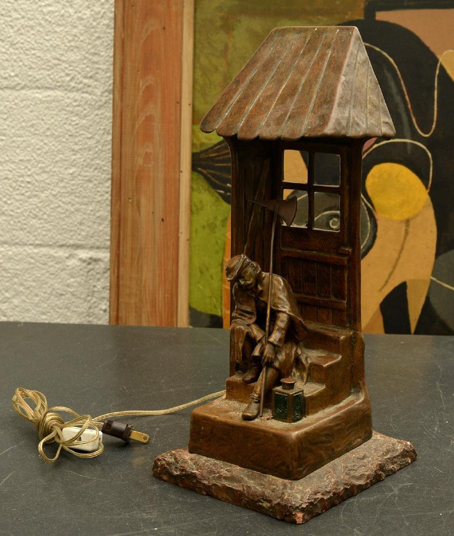 Continental bronze architectural desk lamp