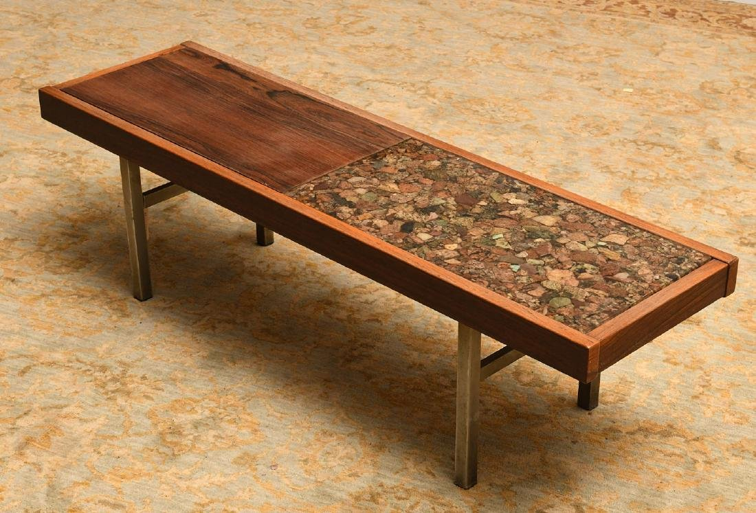 Modernist rosewood and natural stone coffee table
