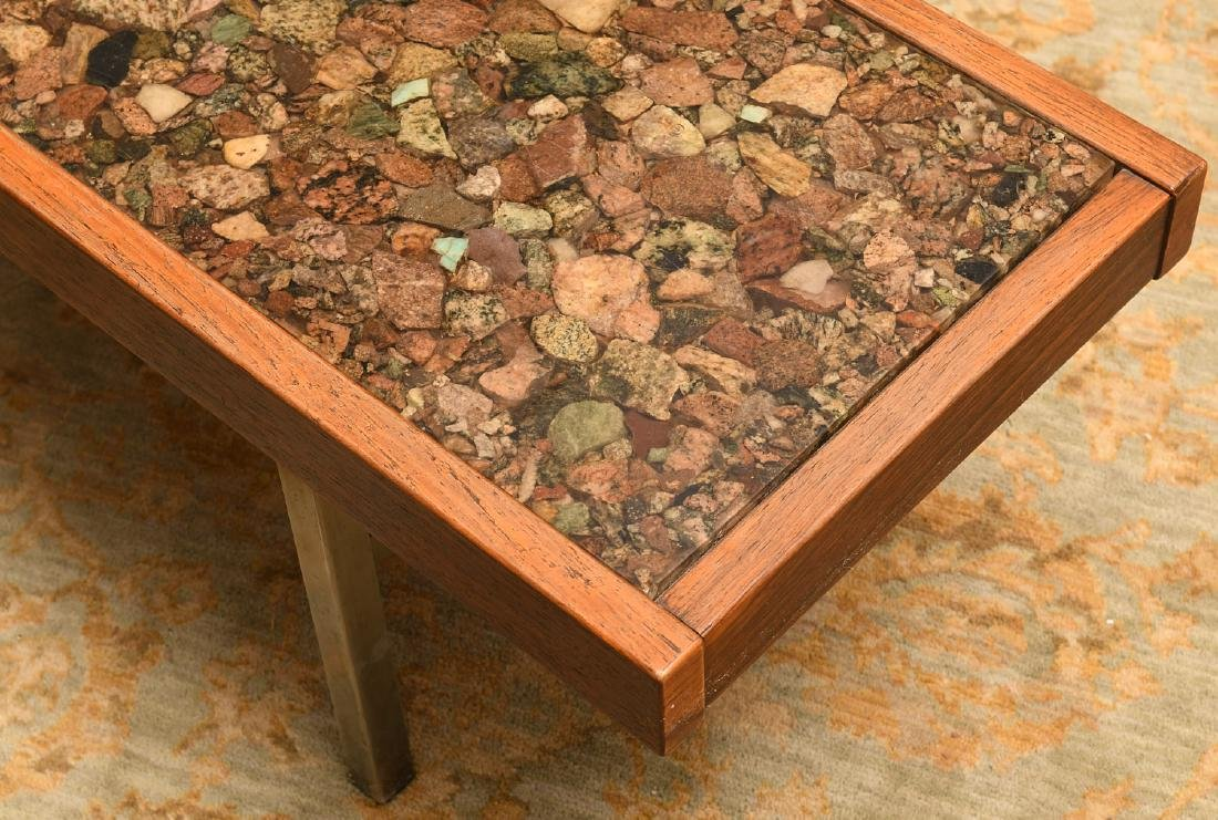 Modernist rosewood and natural stone coffee table - 2