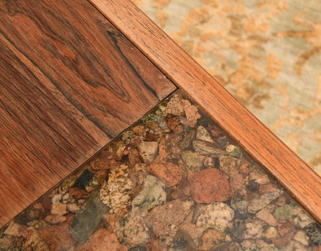 Modernist rosewood and natural stone coffee table - 3