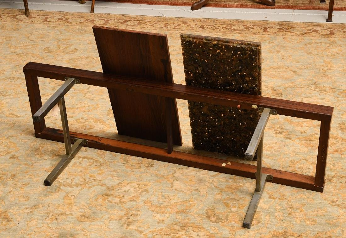Modernist rosewood and natural stone coffee table - 5
