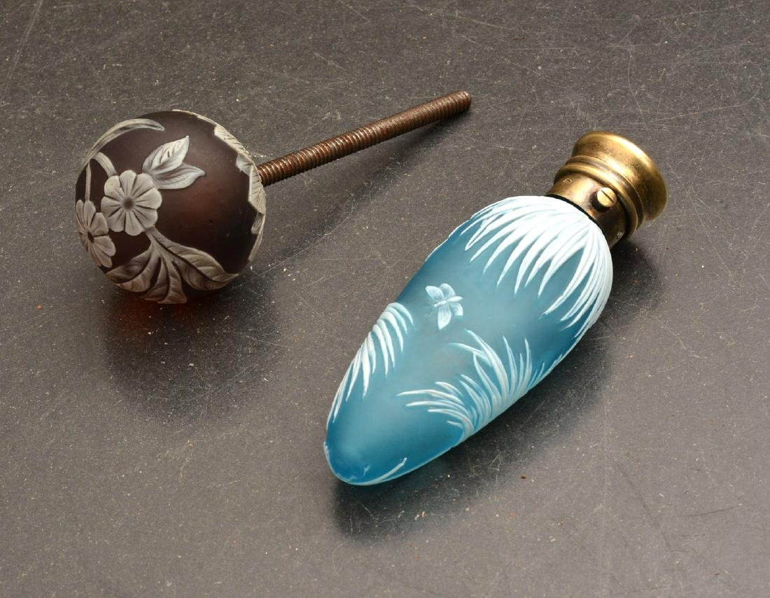 Cameo glass scent bottle & drawer pull