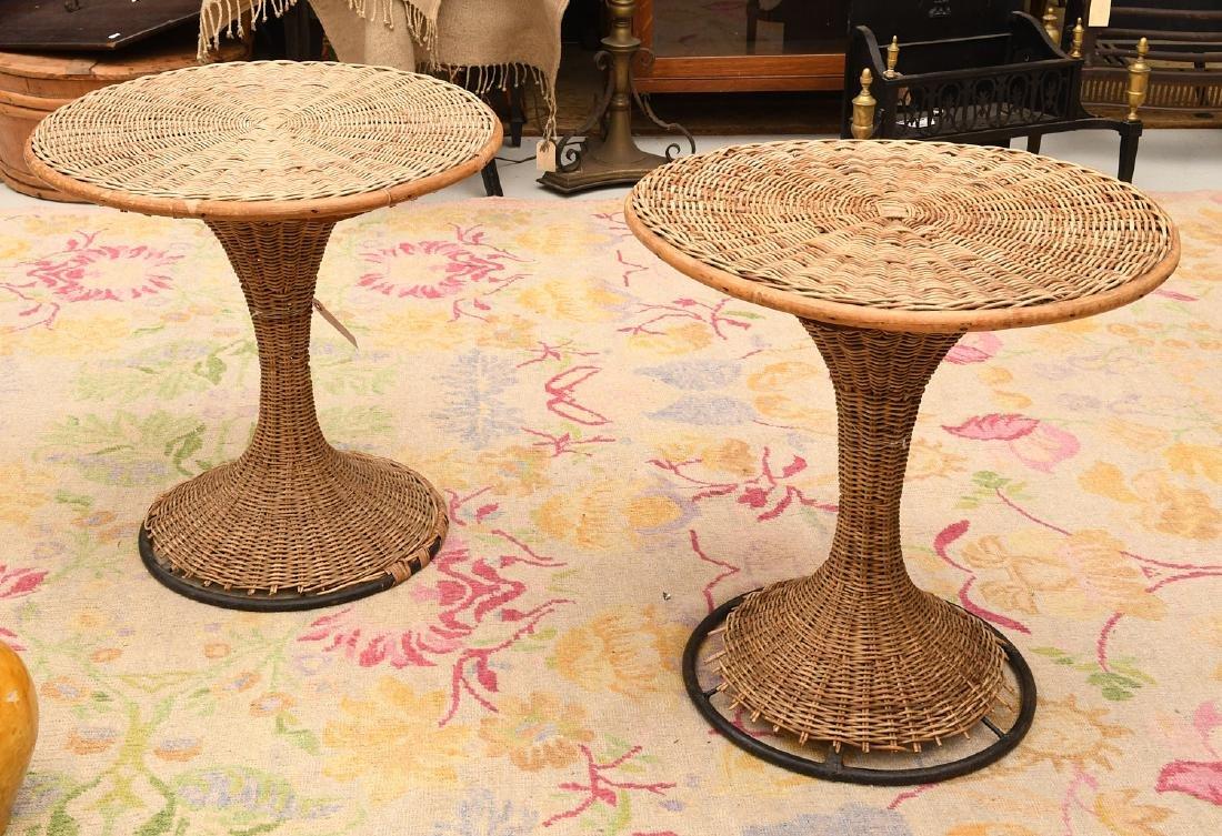 Pair Franco Albini style pair pedestal side tables