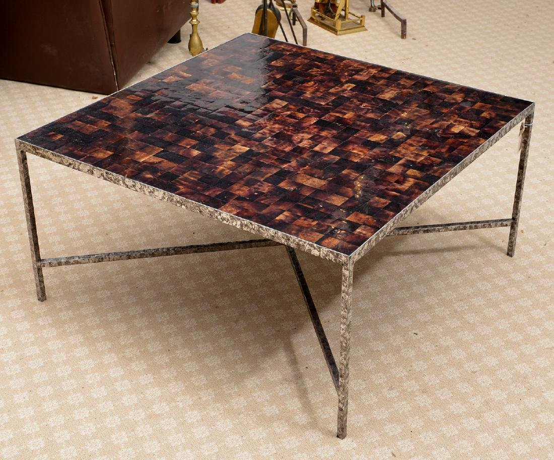 "Oly ""Jonathan"" shell veneered cocktail table"