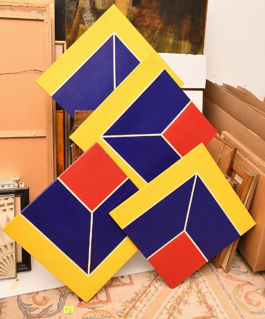 Manner of Frank Stella, set (4) paintings