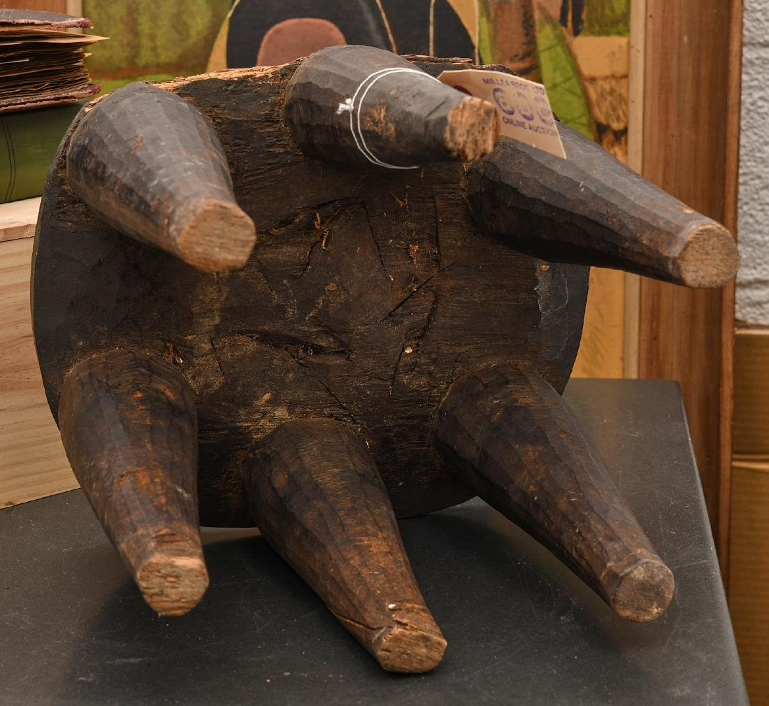 African carved six-legged stool - 6