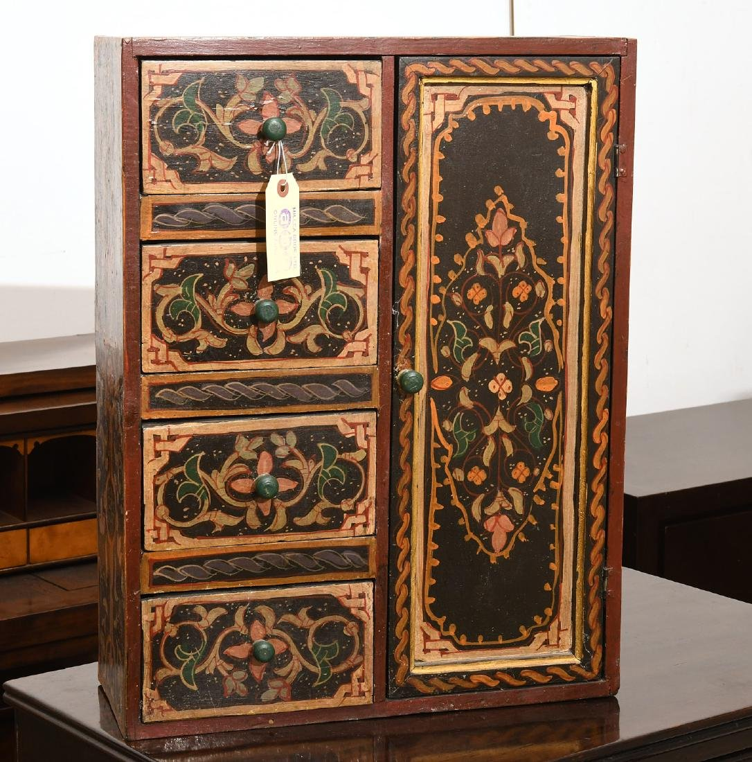 Hand-painted Tibetan style folk art chest