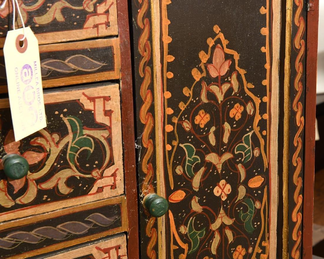 Hand-painted Tibetan style folk art chest - 2