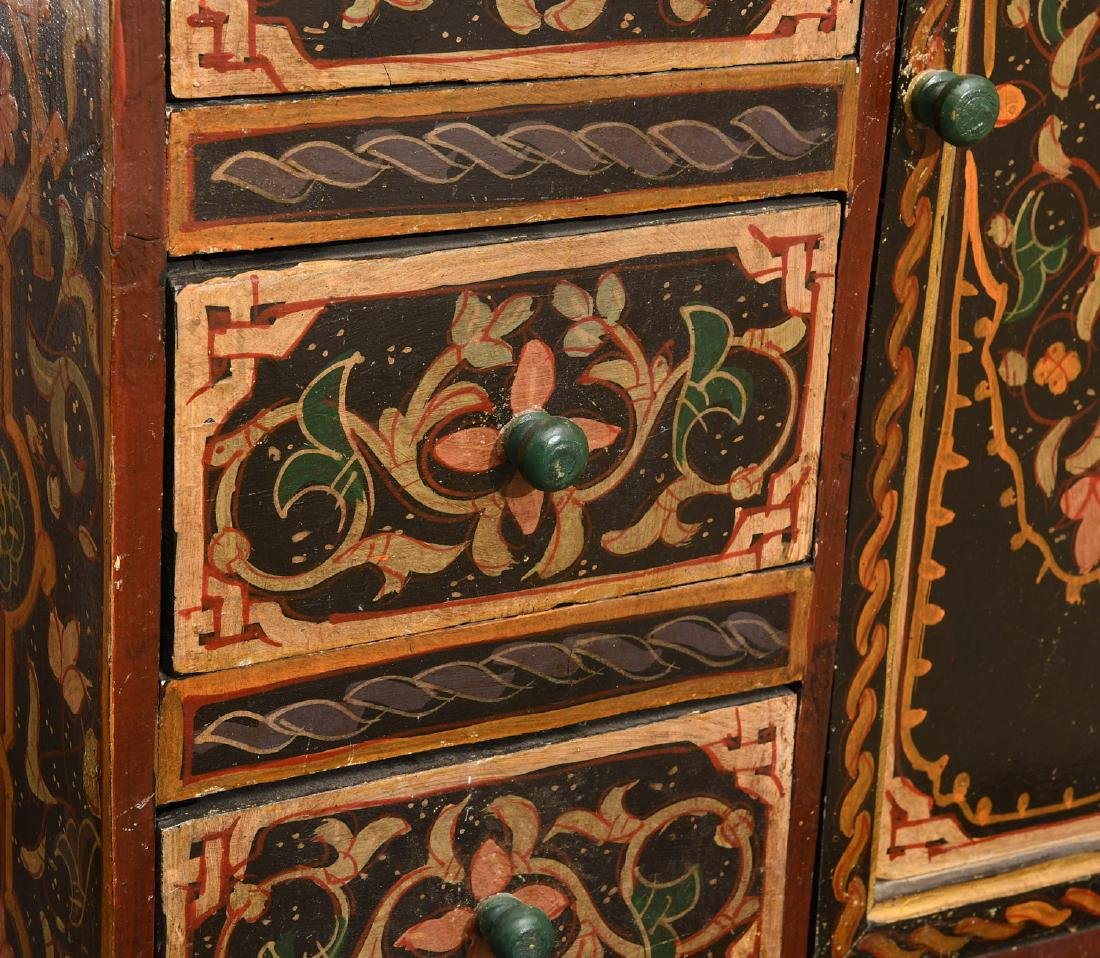 Hand-painted Tibetan style folk art chest - 4