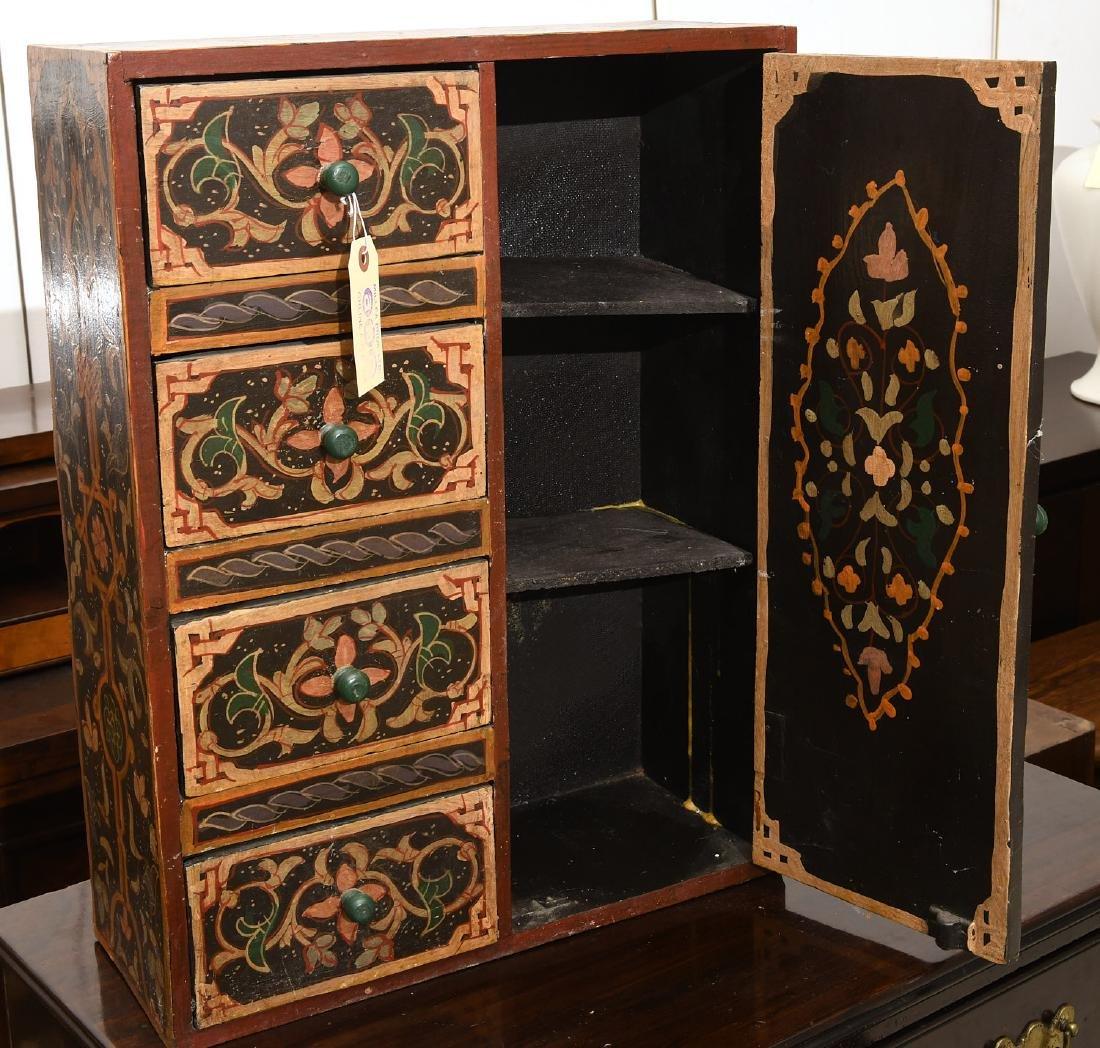 Hand-painted Tibetan style folk art chest - 5