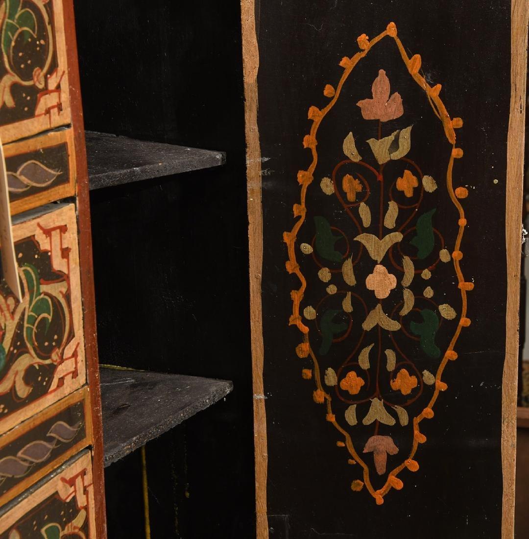Hand-painted Tibetan style folk art chest - 6