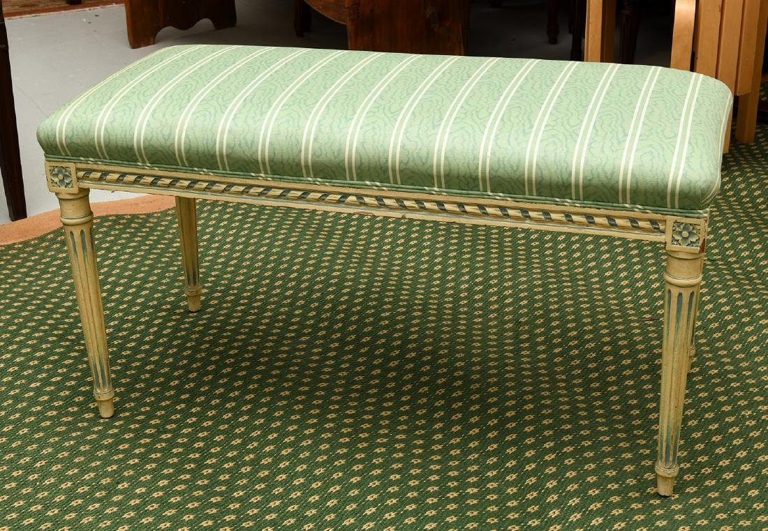 Louis XVI style cream painted bench