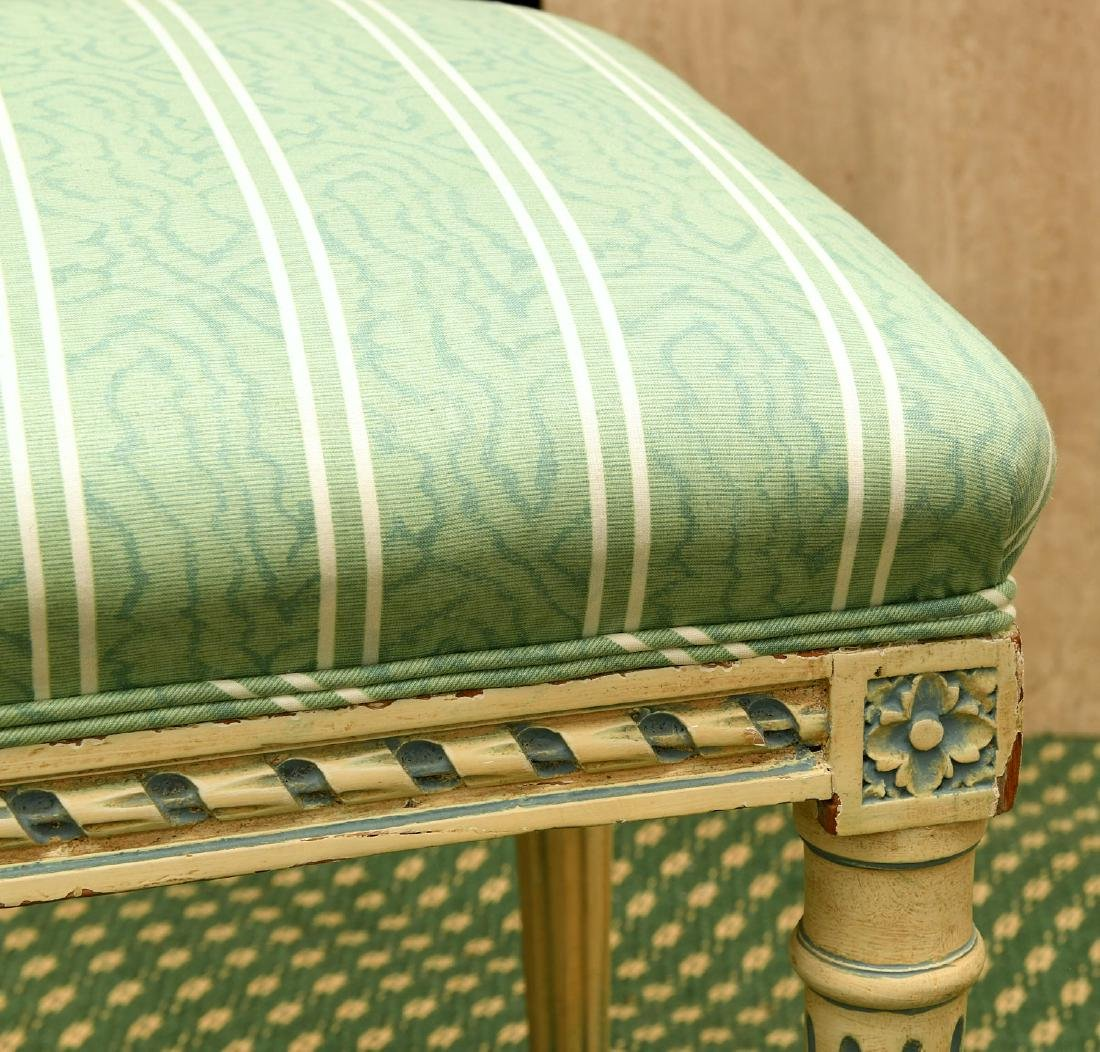 Louis XVI style cream painted bench - 3