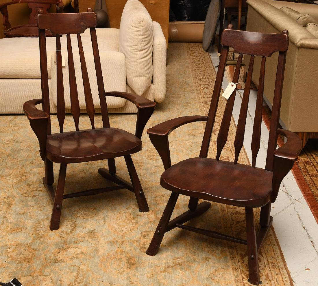 Pair American Studio craftsman armchairs