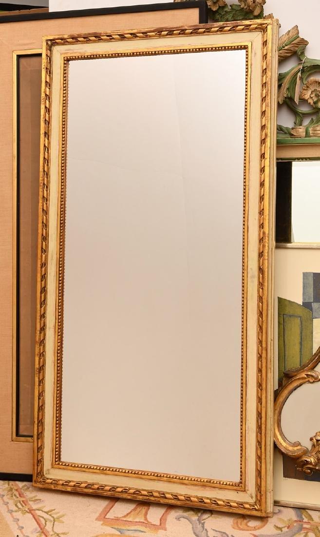Louis XVI-style cream painted, parcel gilt mirror