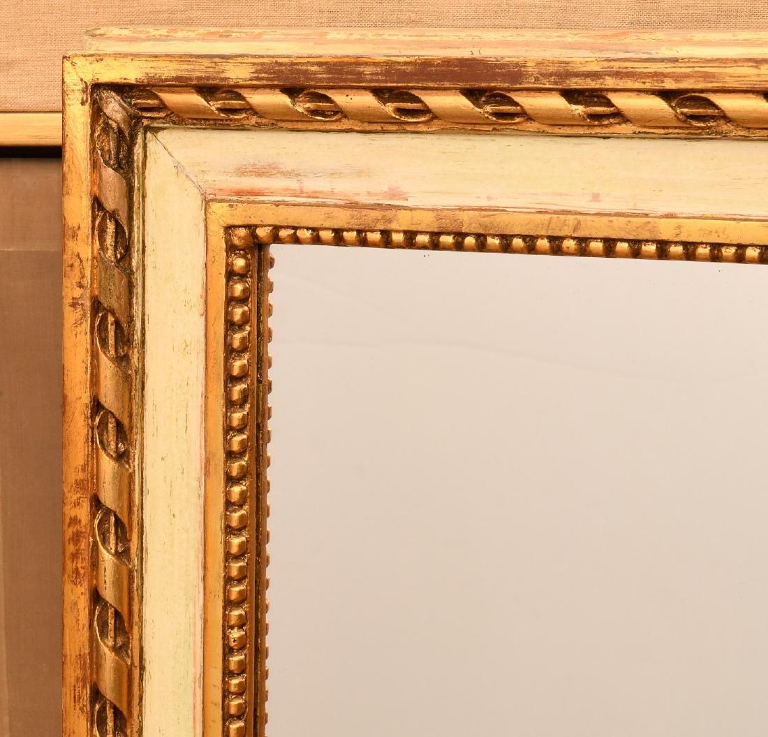 Louis XVI-style cream painted, parcel gilt mirror - 2