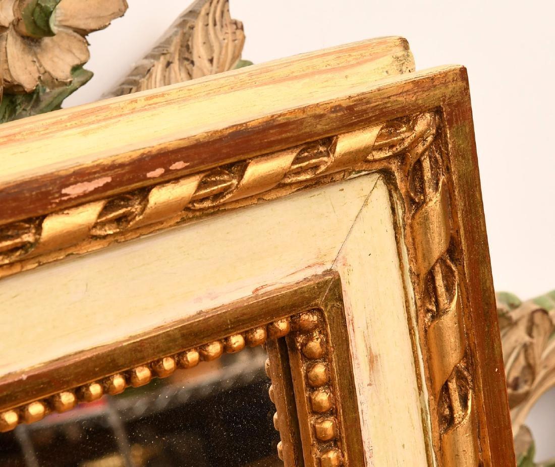 Louis XVI-style cream painted, parcel gilt mirror - 3