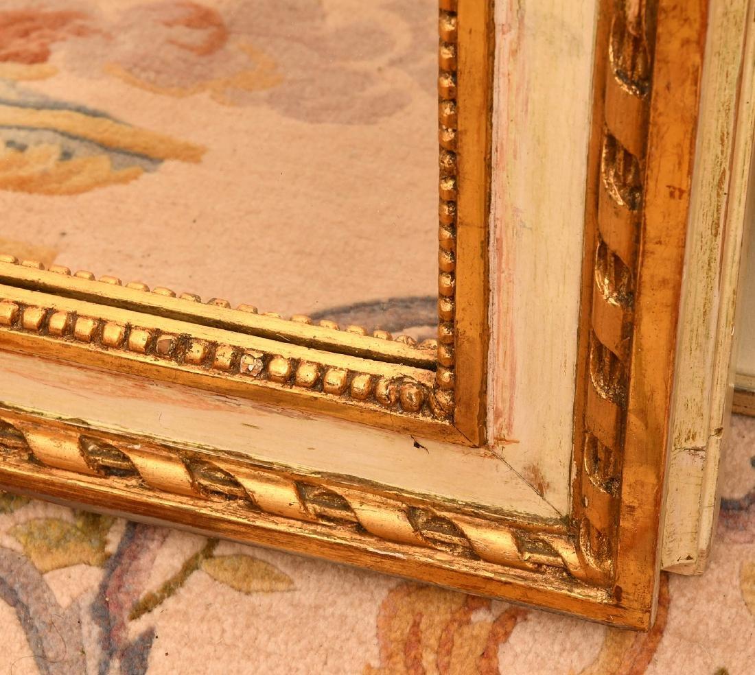 Louis XVI-style cream painted, parcel gilt mirror - 4