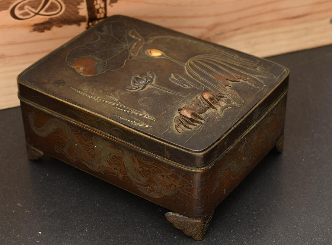 Japanese Meiji period bronze footed box