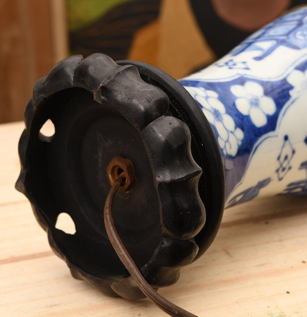 Chinese blue and white porcelain vasiform lamp - 5