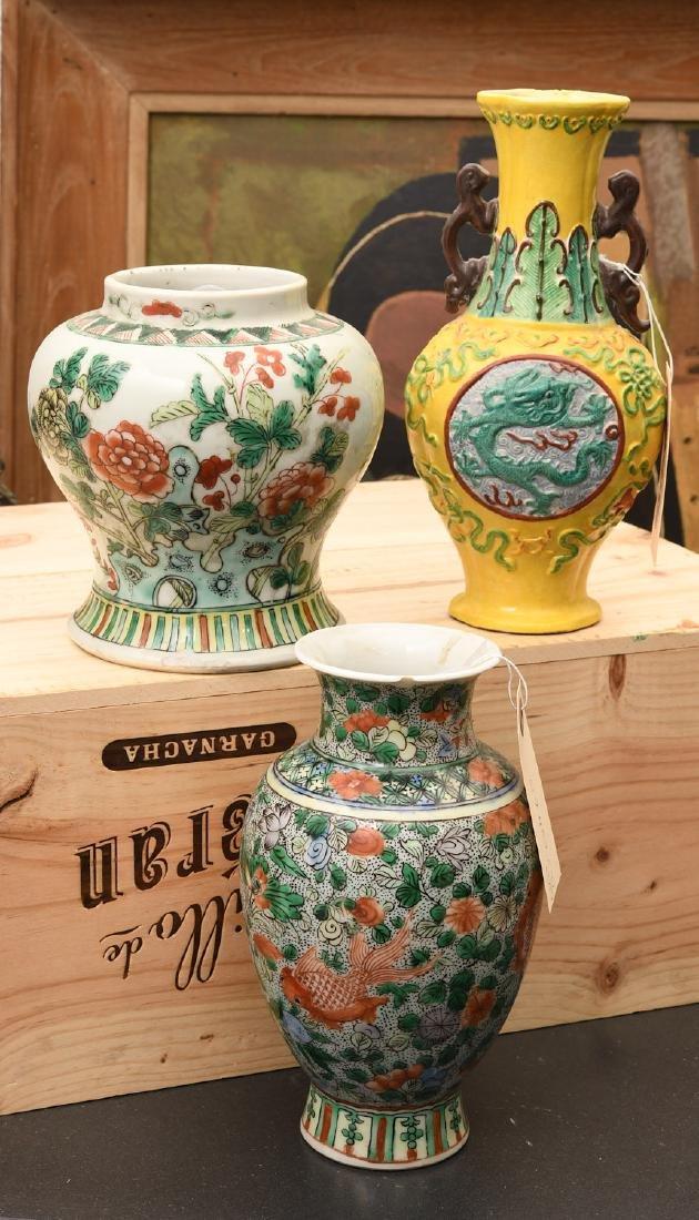 Chinese famille verte / jaune vases and jar