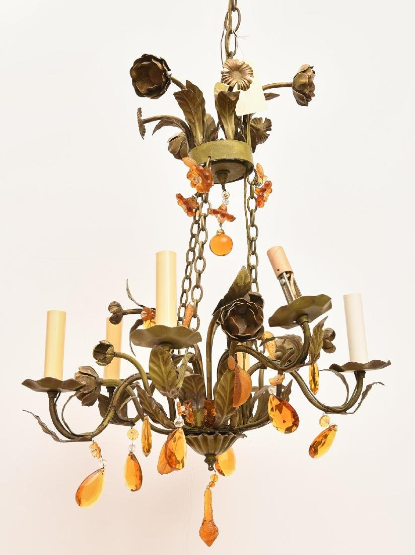 Italian green painted tole floral chandelier