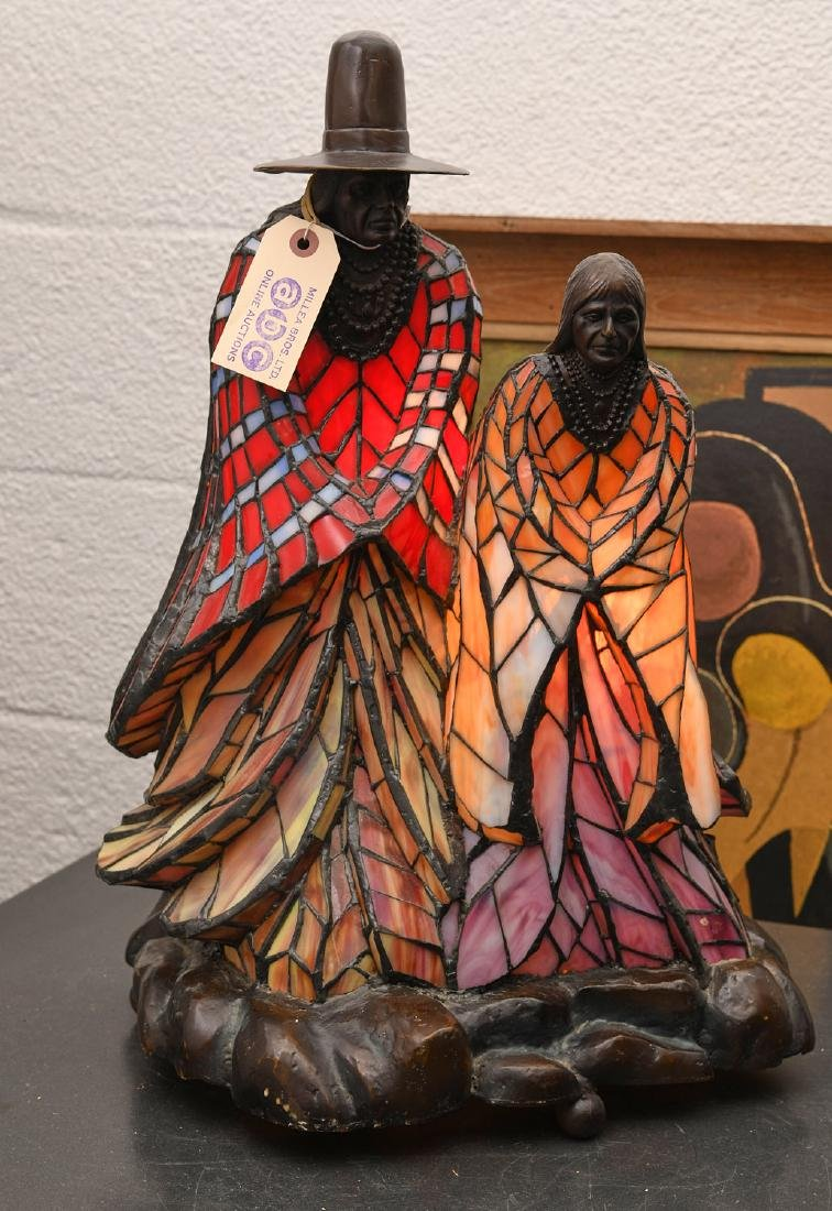 Rabbto Native American figural leaded glass lamp