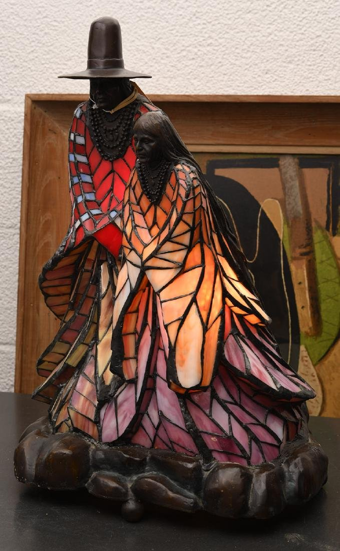 Rabbto Native American figural leaded glass lamp - 3