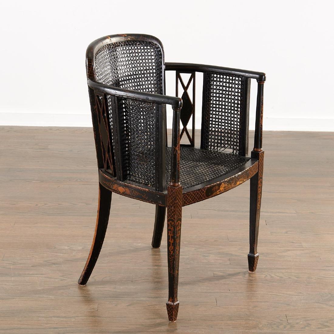 Edwardian black japanned armchair