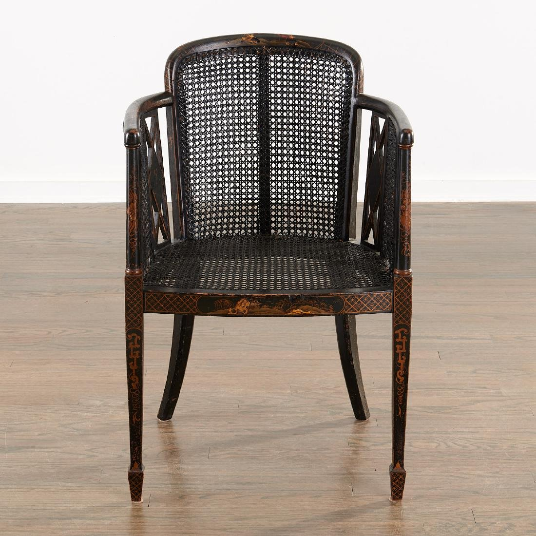 Edwardian black japanned armchair - 2