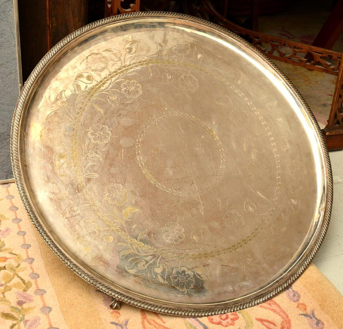 Unusually large antique silver plated tray