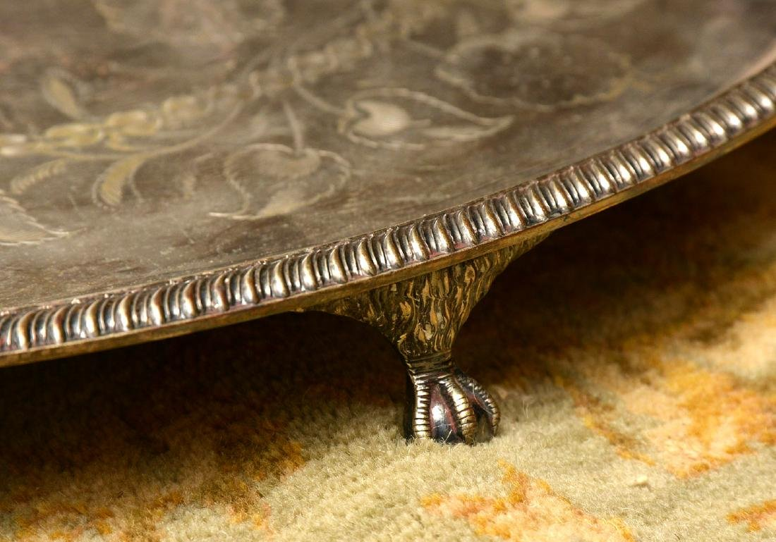 Unusually large antique silver plated tray - 2