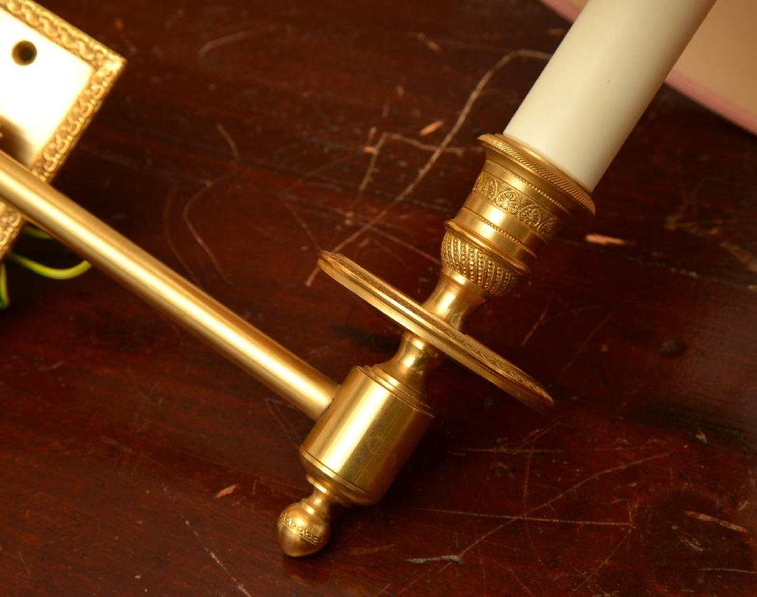 Pair decorator quality bronze swing arm sconces - 4