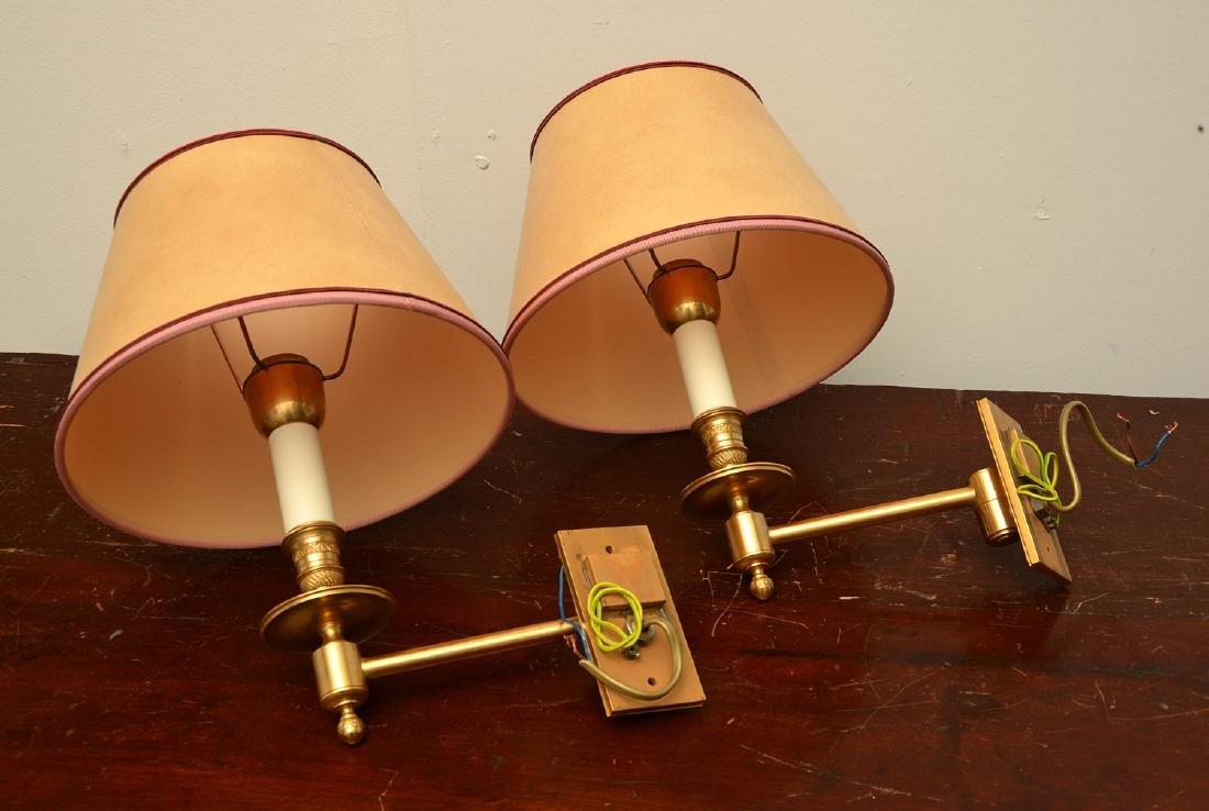 Pair decorator quality bronze swing arm sconces - 9