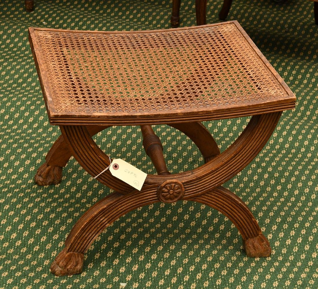 Neo-Classical style caned curule bench