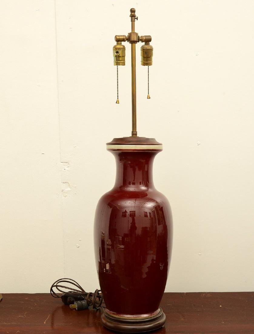 (2) Chinese oxblood porcelain vase table lamps - 5