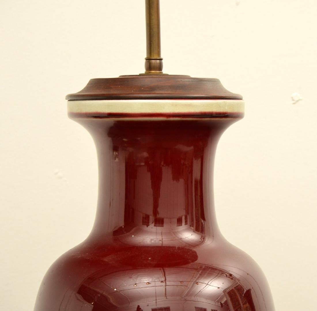 (2) Chinese oxblood porcelain vase table lamps - 6