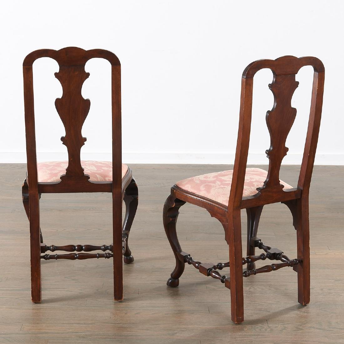 Pair Dutch marquetry inlaid Queen Anne chairs - 2