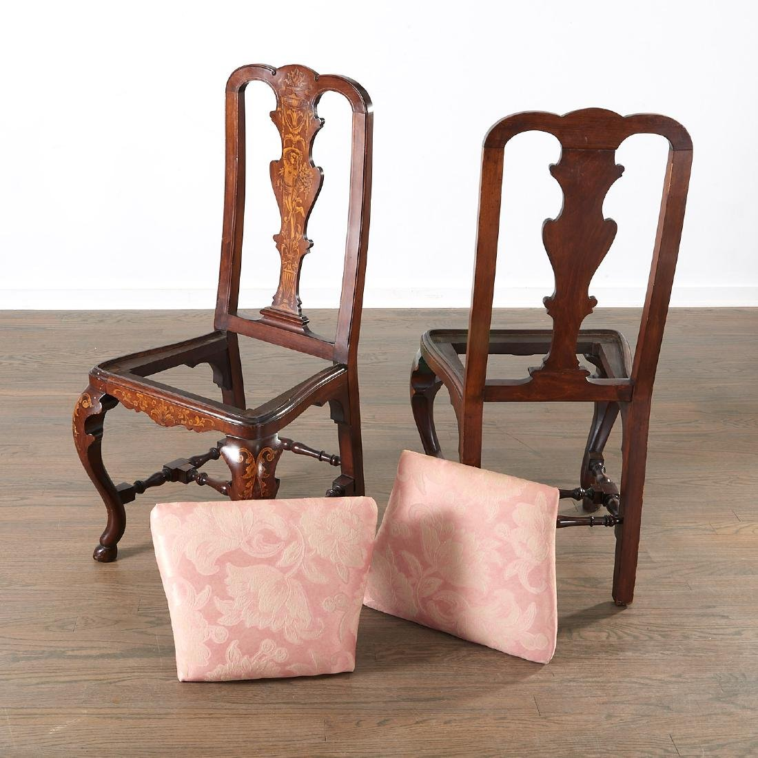 Pair Dutch marquetry inlaid Queen Anne chairs - 3