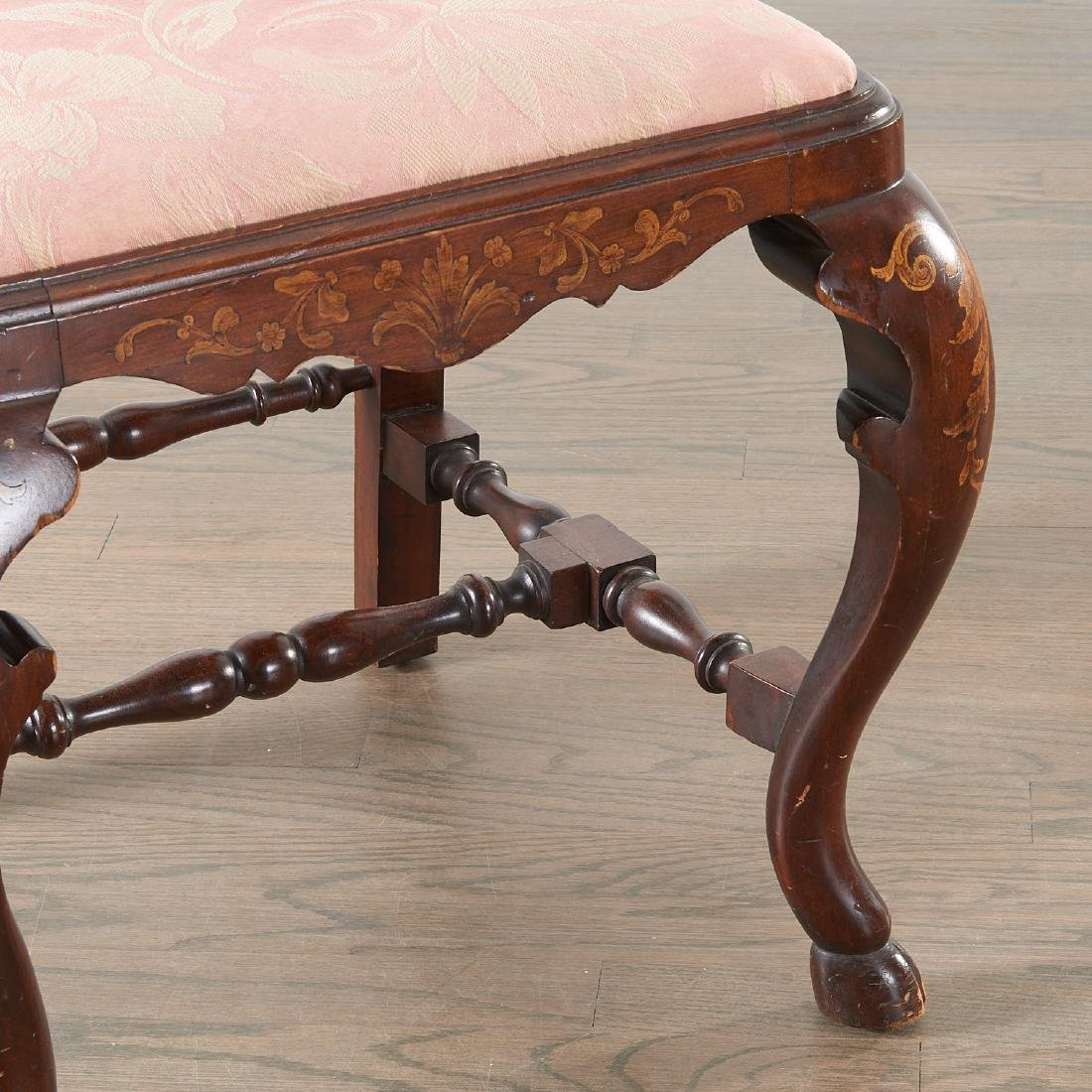 Pair Dutch marquetry inlaid Queen Anne chairs - 5