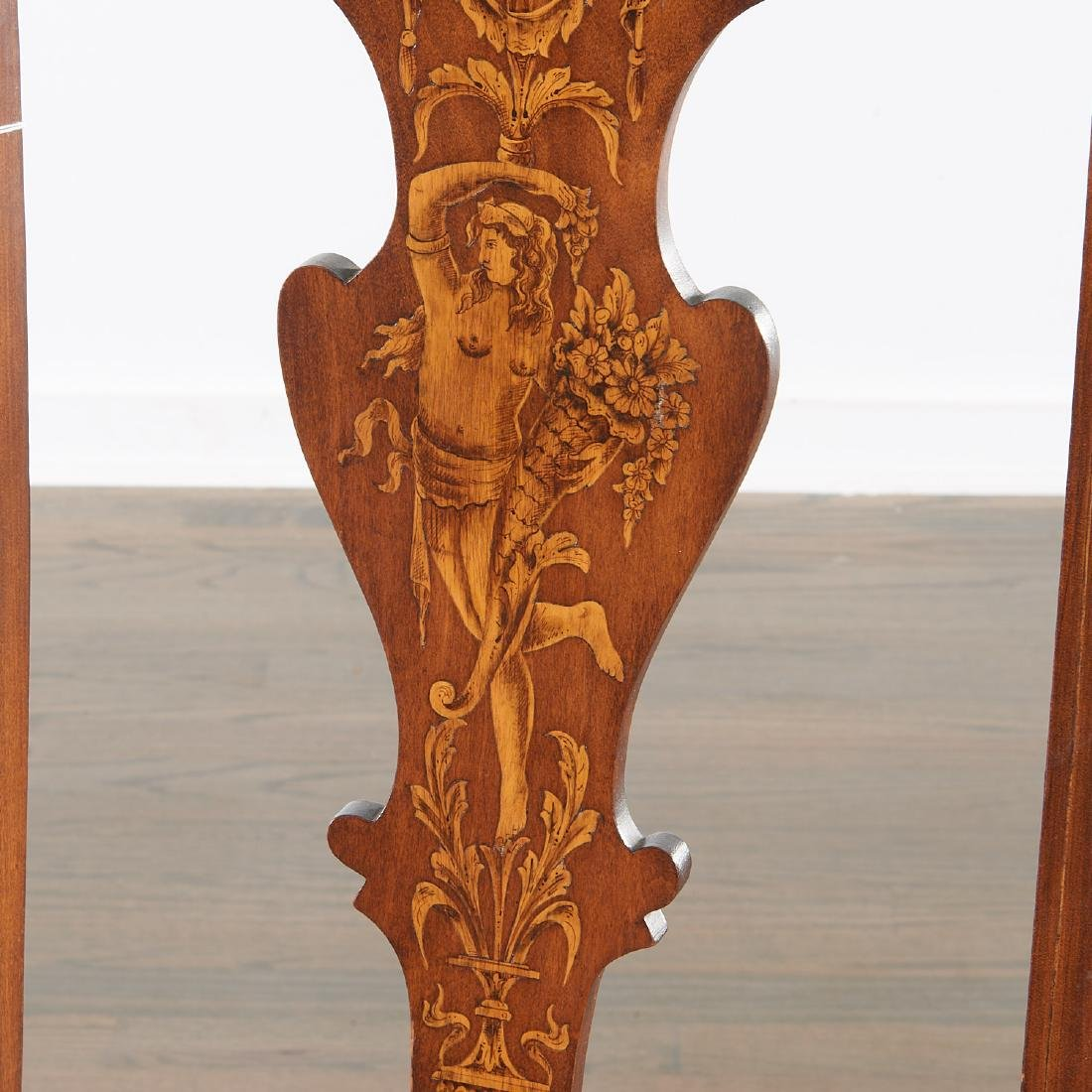 Pair Dutch marquetry inlaid Queen Anne chairs - 6