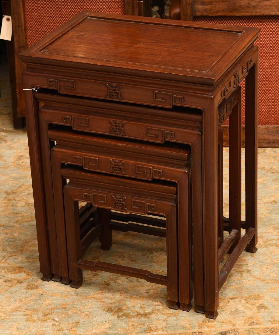 Set (4) Chinese carved hardwood nesting tables - 4