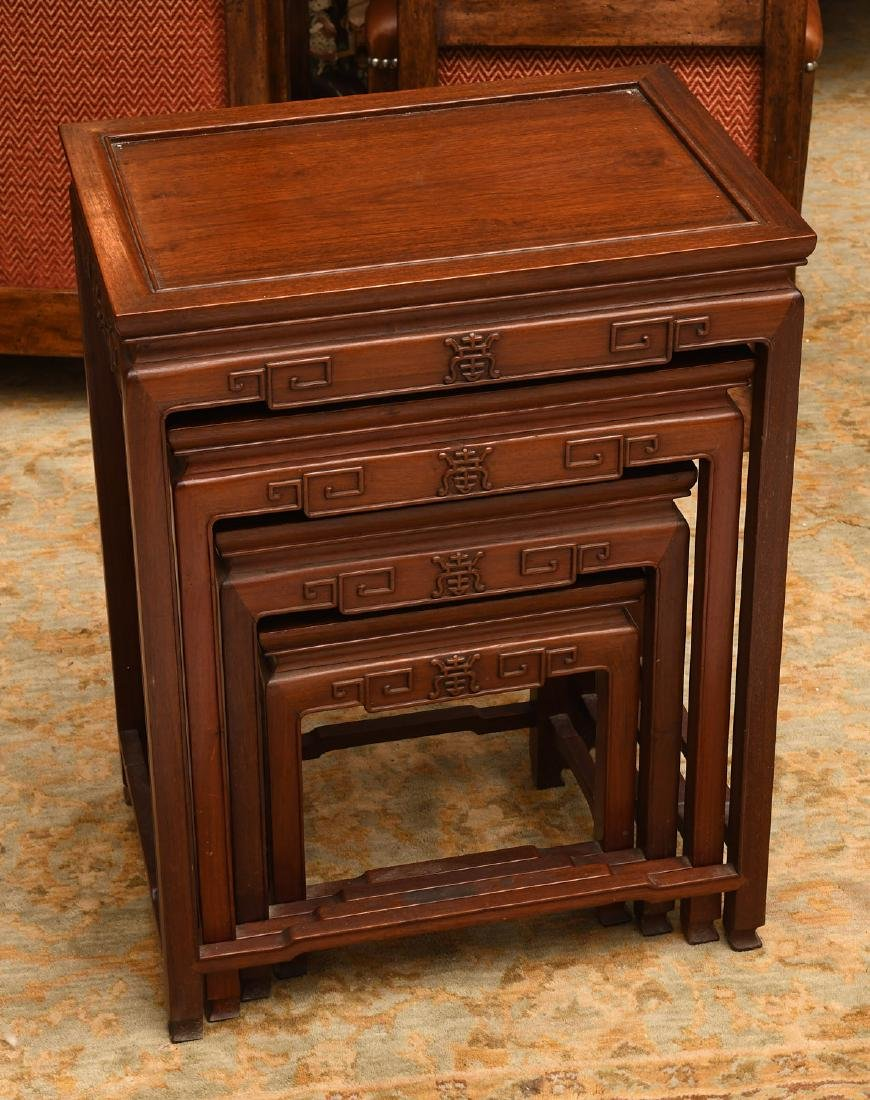 Set (4) Chinese carved hardwood nesting tables - 5