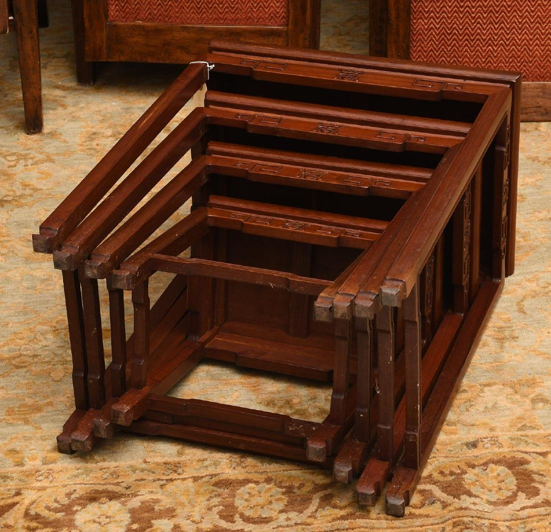 Set (4) Chinese carved hardwood nesting tables - 8