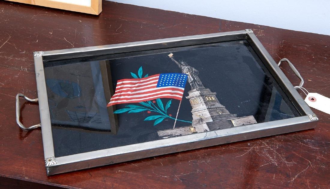 Art Deco Statue of Liberty eglomise tray