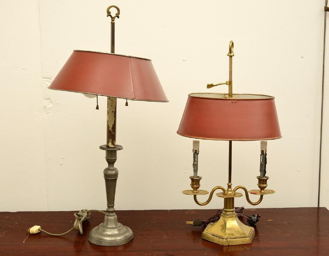 (2) Empire style bouillotte and stick lamps